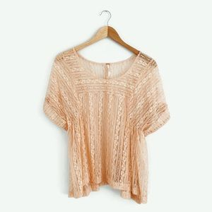 Free People Sheer Lace Peach Top Small P